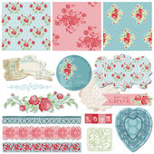 Scrapbook Design Elements - Vintage Flowers in vector — Διανυσματικό Αρχείο