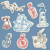 Nautical doodles on Torn Paper- Hand drawn collection in vector — Stock Vector