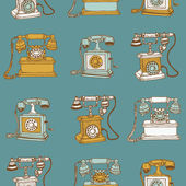 Seamless Background with Vintage Telephones - hand drawn in vect — Stock Vector