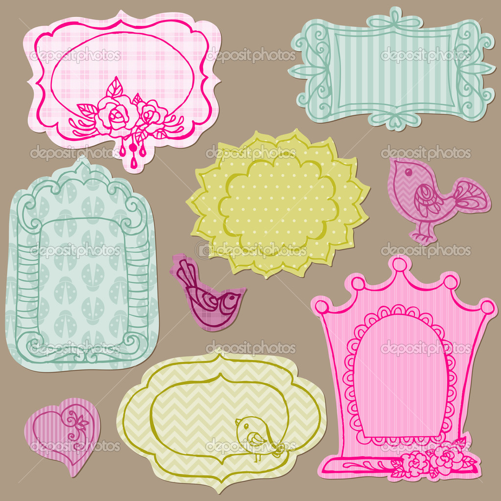 set of cute doodle frames with flower elements and birds in ve stock vector