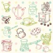 Set of hand drawn doodle - Tea and Coffee Time in vector — Stockvektor