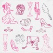 set of beautiful wedding hand drawn elements - in vector — Stock Vector