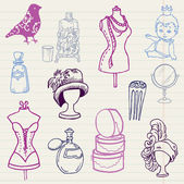Set of Fashion Hand drawn Doodles - for your design — Stock Vector