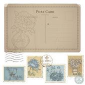 Vintage kartpostal ve pulları - çiçek ve bir dizi — Stok Vektör