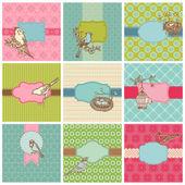Conjunto de coloridas tarjetas con aves vintage - para cumpleaños, bodas — Vector de stock