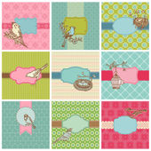 Set of Colorful Cards with Vintage Birds - for birthday, wedding — Stok Vektör