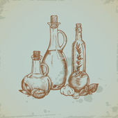 Hand drawn Olive Oil in Glass Bottles. Still life illustration. — Stock Vector