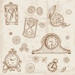 Set of Vintage Doodle Clock and gear - hand drawn in vector — Stock Vector