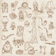 Set of Various Vintage Doodle Elements - hand drawn in vector — Stock Vector #9305955