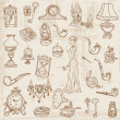 Stock Vector: Set of Various Vintage Doodle Elements - hand drawn in vector