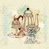 Tea and Desserts - Vintage Menu Card in vector — Stock Vector