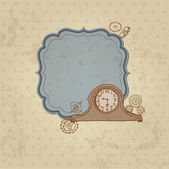 Vintage Card with Doodle Clock and gear - hand drawn in vector — Stock Vector