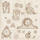 Vintage doodle klocka och redskap - hand dras i vector — Stockvektor