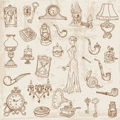Set of Various Vintage Doodle Elements - hand drawn in vector — Stock Vector