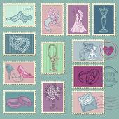 Wedding Postage Stamps in vector — Stock Vector