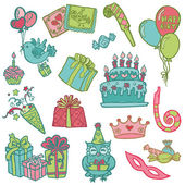 Hand drawn Birthday Celebration Design Elements - for Scrapbook — Stock vektor