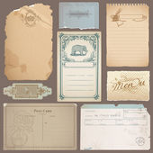 Set of Different Vintage Papers, Cards and Old Notes in vector — Stock Vector