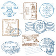 Vector Set of Retro SEA stamps - for design and scrapbook — Stock Vector #9488787