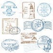 Vector Set of Retro SEA stamps - for design and scrapbook - Stok Vektr