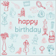 Royalty-Free Stock Vector Image: Birthday Card - with hand drawn elements - for Scrapbook