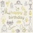 Birthday Card - with hand drawn elements - for Scrapbook — Stock Vector