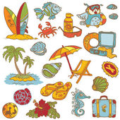Seaside doodles - Hand drawn collection in vector — Stock Vector