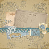Scrapbook design elements - Vintage Bird and Peony Set — Stok Vektör
