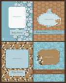 Set of Baby Arrival Cards - with place for your text and photo — Stock Vector