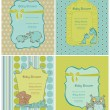 Set of Baby Shower Cards with place for your text in vector — Stock Vector #9605168
