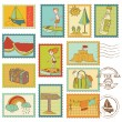 Summer and Sea elements - Vector stamp collection — Stock Vector