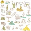 Summer holiday doodle collection - hand drawn in vector — Stock Vector #9605514