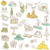 Summer holiday doodle collection - hand drawn in vector — Stock Vector