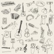 Set of Music Instruments - hand drawn in vector - Stok Vektr