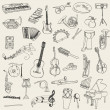 Set of Music Instruments - hand drawn in vector - Stockvectorbeeld