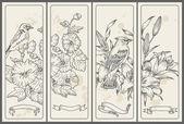 Banners flor e pássaro retrô - mão desenhada em vetor — Vetorial Stock