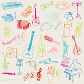 Set of Music Instruments - hand drawn in vector — Stock Vector