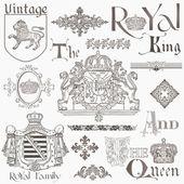 Conjunto de elementos de diseño vintage realeza - alta calidad - en vect — Vector de stock