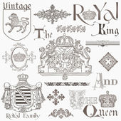 Set of Vintage Royalty Design Elements - High Quality - in vect — ストックベクタ