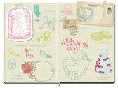 Vector Scrapbook Design Elements - Wedding Set - hand drawn in n — Stock Vector