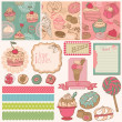 Scrapbook Design Elements - Cakes, Sweets and Desserts - in vector - Stock Vector