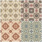 无缝复古背景收集-维多利亚时代瓷砖 — 图库矢量图片