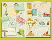 Vetor de elementos de design scrapbook - verão praia conjunto - mão desenhada — Vetorial Stock