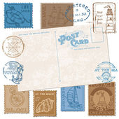 Cartes postales avec timbres de mer rétro - haute qualité - design — Vecteur