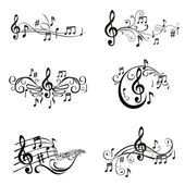 Set of Musical Notes Illustration - in vector — Vettoriale Stock
