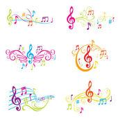 Conjunto de ilustración coloridas notas musicales - en vector — Vector de stock