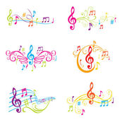 Set of Colorful Musical Notes Illustration - in vector — Vector de stock