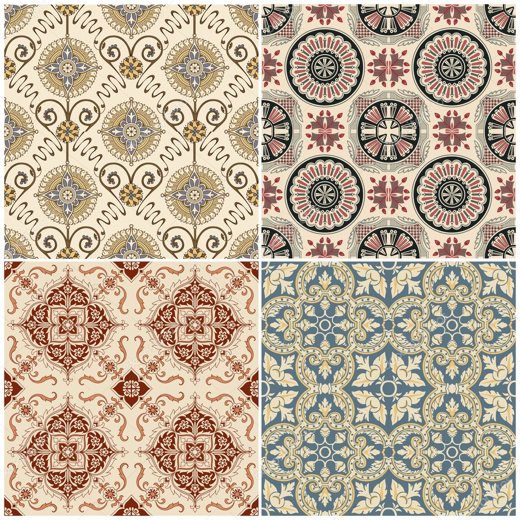 seamless vintage background collection victorian tile stock vector woodhouse 9783997. Black Bedroom Furniture Sets. Home Design Ideas