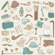 Stock Vector: Gentlemen's Accessories doodle collection - hand drawn in vector