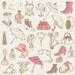 Ladies Fashion and Accessories doodle collection - hand drawn — Stock Vector