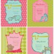 Stock Vector: Set of Baby Shower Cards with place for your text in vector